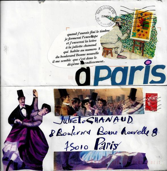 Collages sur enveloppe de Claude Chanaud
